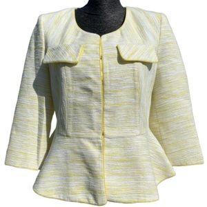 McGinn yellow tweed peplum 3/4 sleeve blazer sz L
